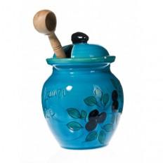 Pot à Olives 20 cm turquoise (Poterie de vallauris)