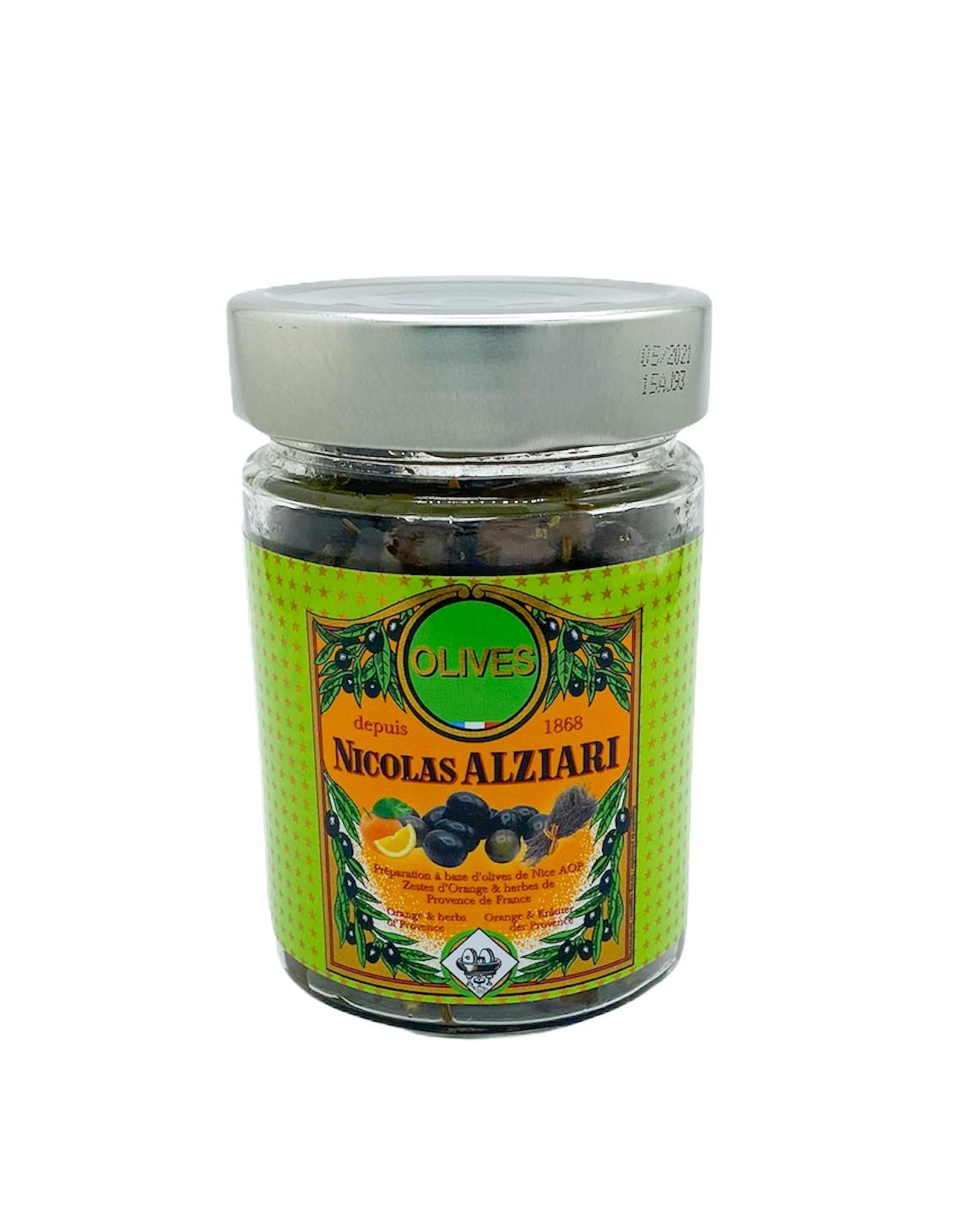 Glas Oliven Cailletier Orangenschale und Kräuter der Provence 180 g