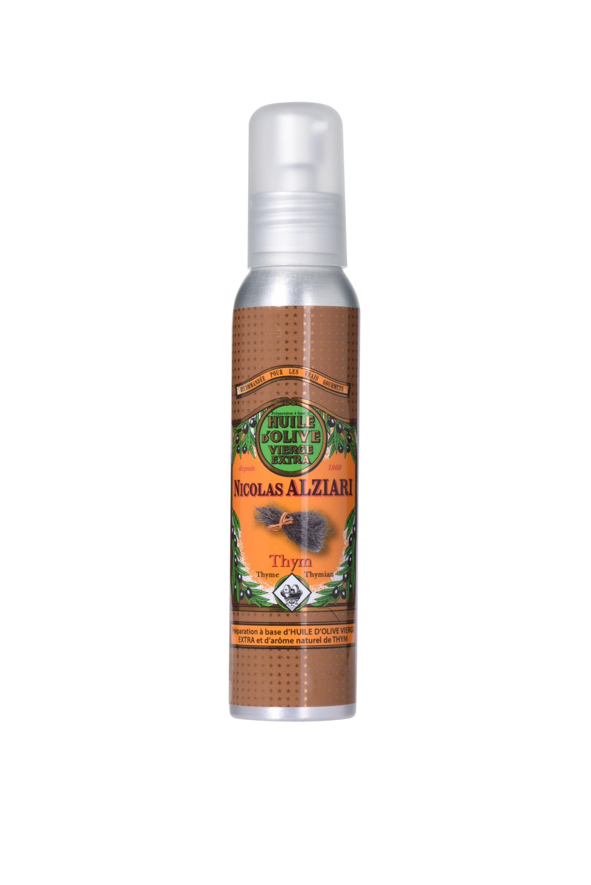 Mit natürlichem Thymianextrakt aromatisiertes Olivenöl für Feinschmecker (100ml)  (Pumpflasche)