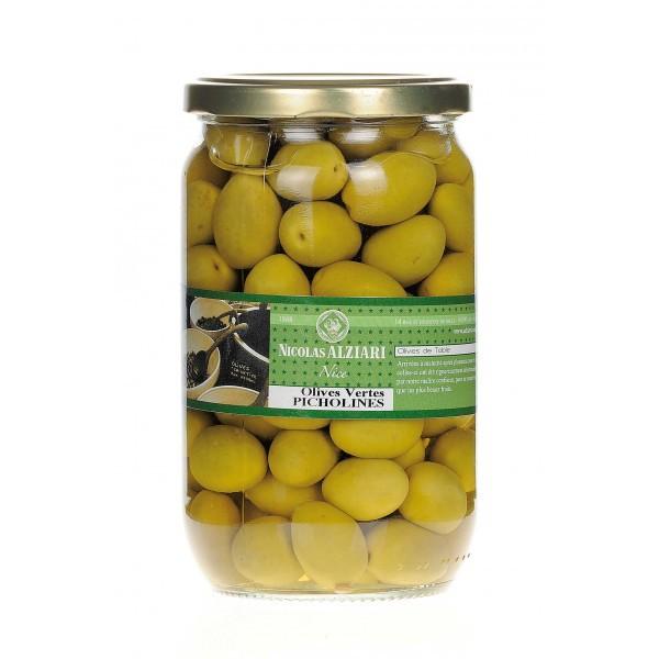 Glas eingelegte grüne Picholine-Oliven 450g