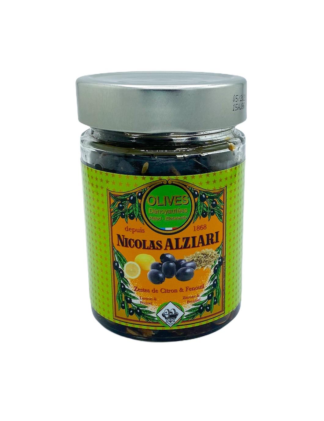 Glas schwarze Oliven mit Zitronenschale und Fenchel  180 g