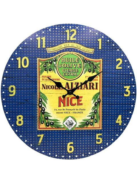 Horloge vintage huile d'olive Nicolas Alziari Nice (diam : 34 cm)