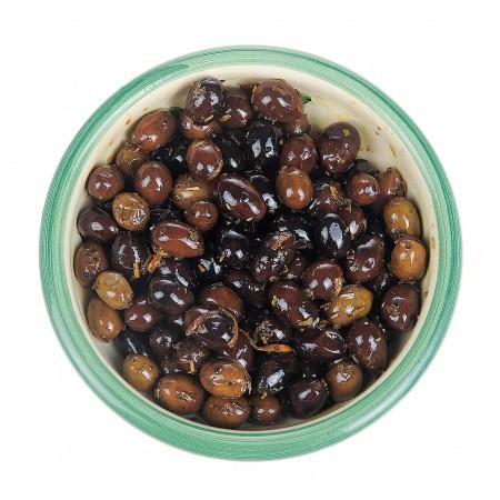 Oliven mit Orangenzesten, Kräutern, Olivenöl 125gr