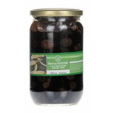 Glas eingelegte schwarze Oliven 480g